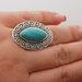 Sidabro spalvos žiedas su turkio akimi