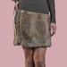 Trumpas natūralaus triušio kailio sijonas