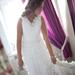 Raukiniuota vestuvinė suknelė iš šifono