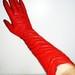 Odinės PRADA ilgos raudonos ryškios pirštinės