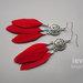 auskarai sapnų gaudyklės su raudonomis plunksnomis