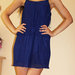 Mėlyna suknelė su dviem klostėm