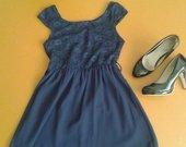 Graži trumpa mėlyna suknelė