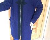 oversized Zalando vilnonis melynas paltas