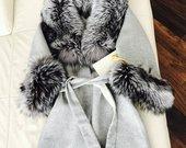Naujas paltas alpaku vilnos su lapes kailiu