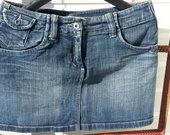 Trumpas džinsinis sijonas