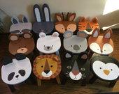 Vaikiškos medinės kėdutės gyvūnėliai