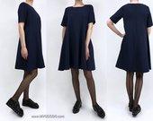 "Varpelio silueto suknelė ""DARK BLUE IZA"""