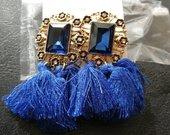 Nauji mėlyni puošnūs auskarai