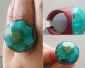 Akvamarino spalvos 3D žiedas