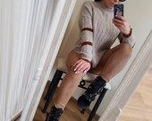 Verstos odos imitacija tamprios kelnės