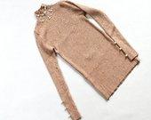 Smėlio spalvos megztukas su perlais