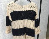 Šiltas mėlynai-baltas megztinis