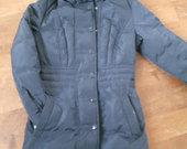 Tamsiai mėlynas pūkinis paltas