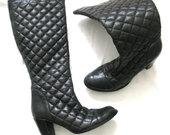 ADAX juodi odiniai dygsniuoti ilgaauliai batai