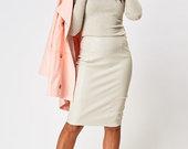 Pilkas odos imitacijos sijonas