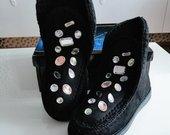 Silti sniego batai dekoruoti kristalais
