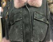 grožis džinsine striuke su lapes kailiu