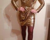 Aukso spalvos tviski suknelė