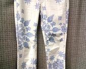 L.O.O.G. tamprios siauros gėlėtos kelnės 3526-1