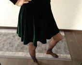 Veliūrinis smaragdinis sijonas