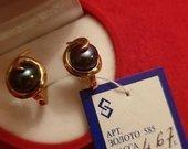Auksiniai auskarai su juodais perlais