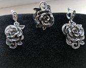 Vintage auskarai žiedas rožė