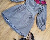 Elegantiška pilka suknelė pustomis rankovėmis