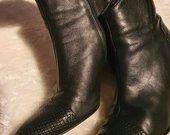 Natūralios odos rudeniniai juodi aukštakulniai