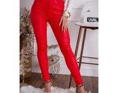 Moteriškos raudonos spalvos vaškinės kelnės