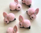 Rožiniai zuikučiai - plaukų segės / aksesuarai