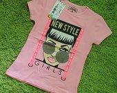 Rožinės spalvos mergaičių marškinėliai
