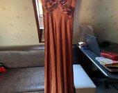 Bronzos spalvos proginė suknelė