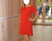Raudona koralinė vakarinė suknelė