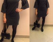 tamsiai pilka suknele