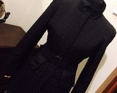Juodas klasikinis pavasarinis paltukas