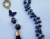 Mėlynas indigo kaklo papuošalas su šilko kutu