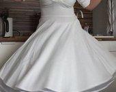 1950 stiliaus Ivory atspalvio balta swing suknelė