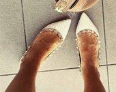 Balti bateliai Valentino style nauji