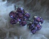Auskariukai gėlytės su violetiniais kristaliukais