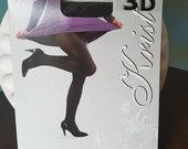 Storos juodos 3D 100 denų pėdkelnės su lycra