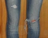 Sendinti įdomūs džinsai