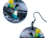 Dekupaziniai auskarai Metgaite su balionais