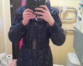 žieminis tamsiai mėlynas paltas