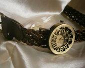 Tamsiai rudas odinis laikrodis