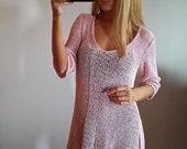 Švelniai alyvinė tunika-megztinis-suknelė