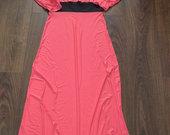 Koralines spalvos ilga suknele