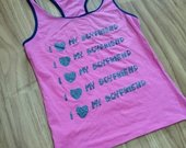 Rožinė stilinga maikutė su užrašu