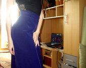 Ilgas, lengvas, mėlynas sijonas