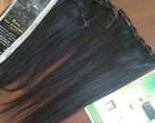 Natūralūs prisegami REMY plaukų tresai (juodi)